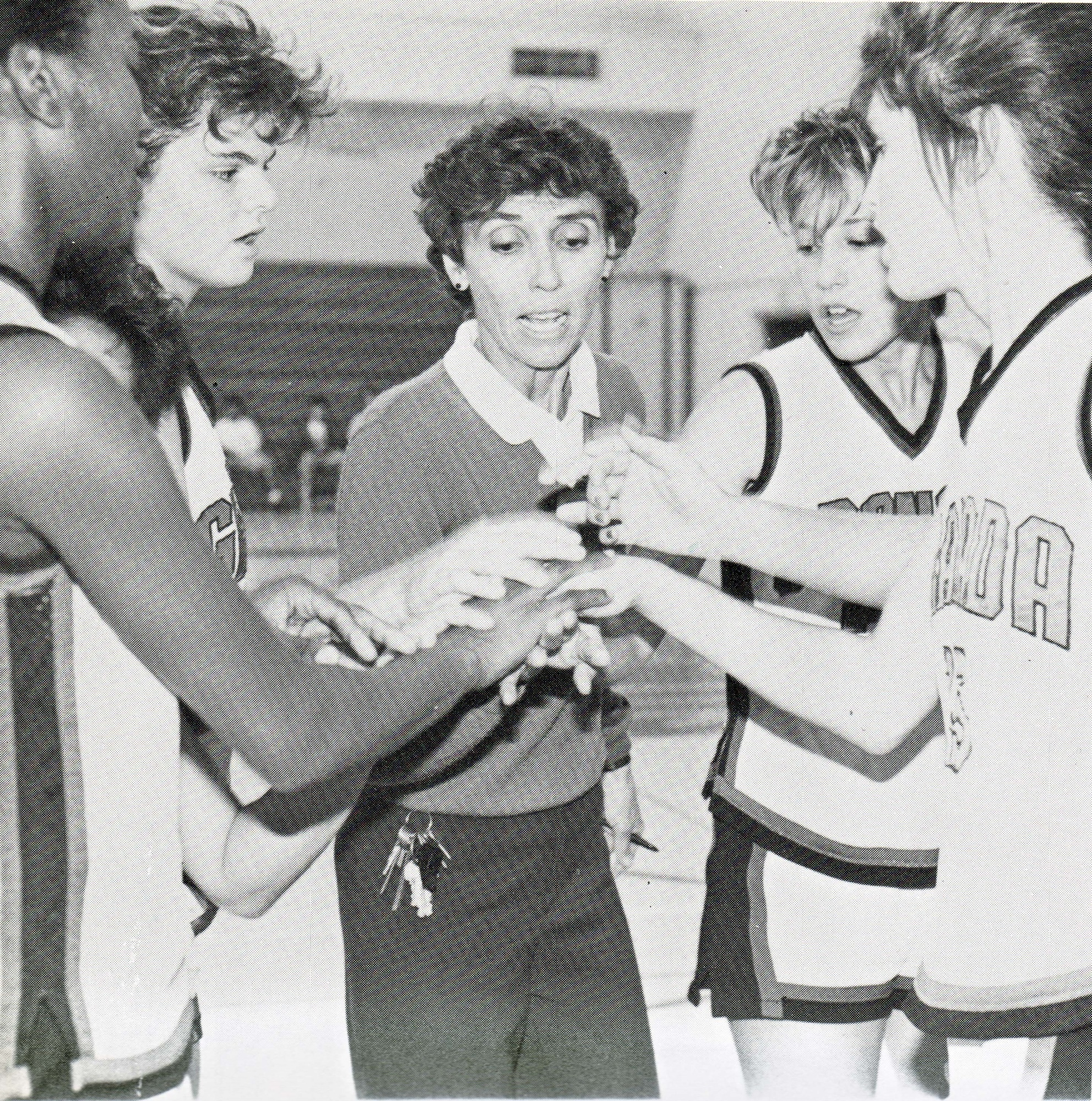 Gunny coaching the girls' basketball team at Granada in 1988.