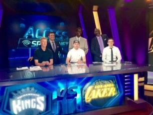 Nash, Nick and Tyler on set of The Lake Show with Chris, A.C. and Big Game James