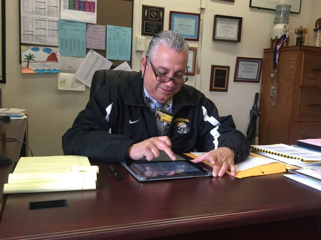 Bassett principal Mr. Griego spending some time testing the new equipment.