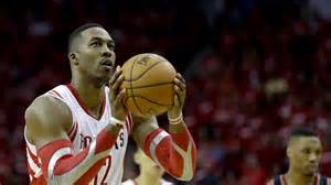 Rockets' center Dwight Howard at the free throw line