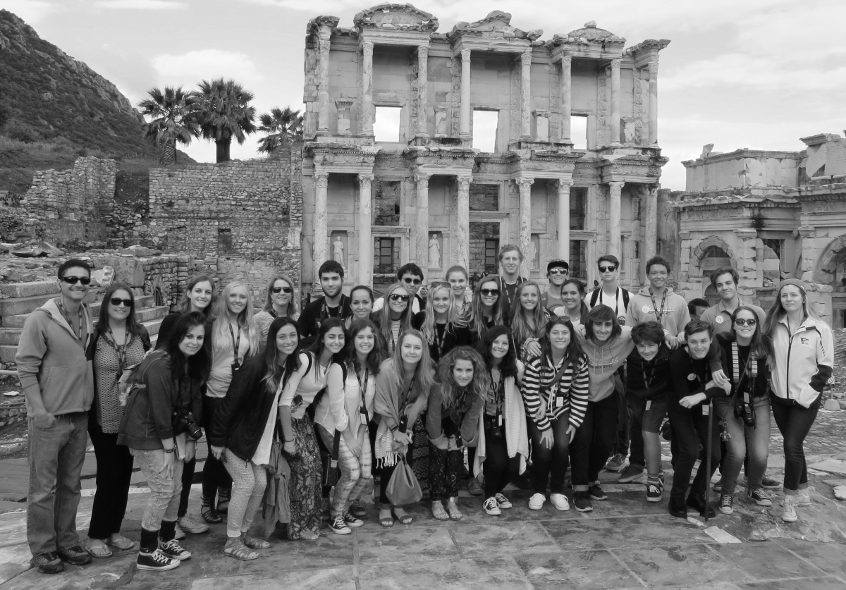 The Library in Ephesus: The Newport Harbor group consisting of students and teachers, came together for a picture at a historical sight built by Romans