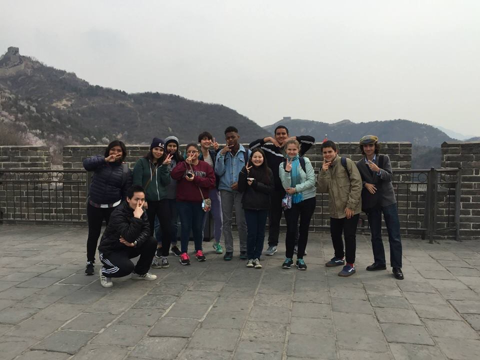Liang (left, foreground) and his students on the Great Wall of China