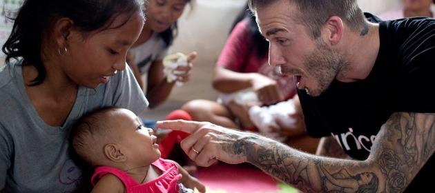 David Beckham's visit to Philippines through UNICEF in 2014.