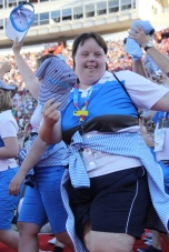 A Team Finland athlete captures this exciting moment and waves to fans during the Special Olympics World Games Opening Ceremony on Saturday.