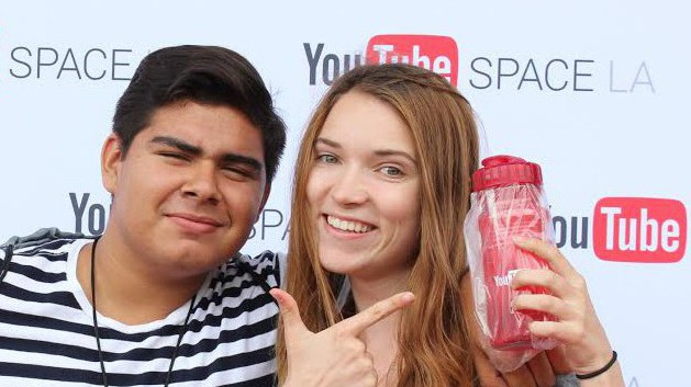 My partner and fellow teenage intern, Edward, and I pose for a photo at the nearby YouTube Space.