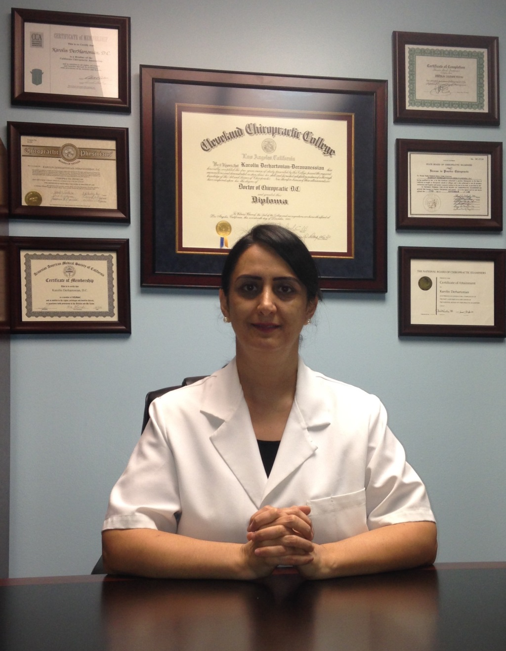 Dr. DerHartonian at her office in Glendale, California.