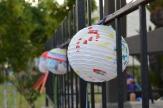 Lanterns decorate the fence