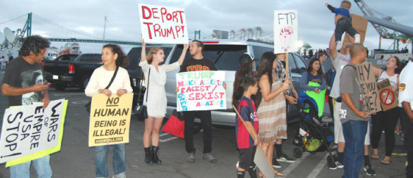 San Pedro residents protest Donald Trump's appearance on USS