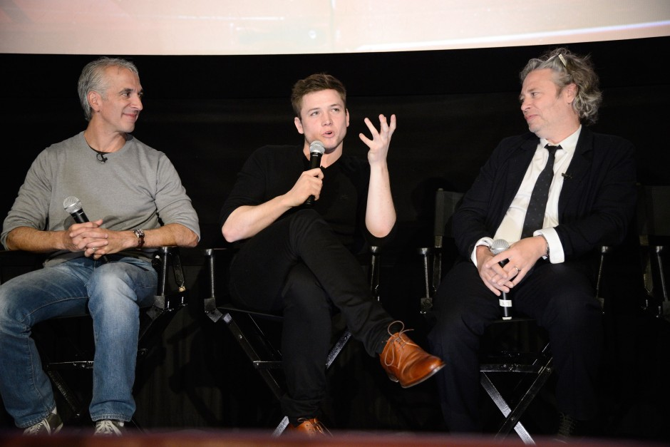 "Moderator Scott Mantz, Taron Egerton and Director Dexter Fletcher seen at Twentieth Century Fox Special Screening of ""Eddie The Eagle"" on Thursday, January 28, 2016, in Los Angeles, CA. (Photo by Dan Steinberg/Invision for Twentieth Century Fox/AP Images)"