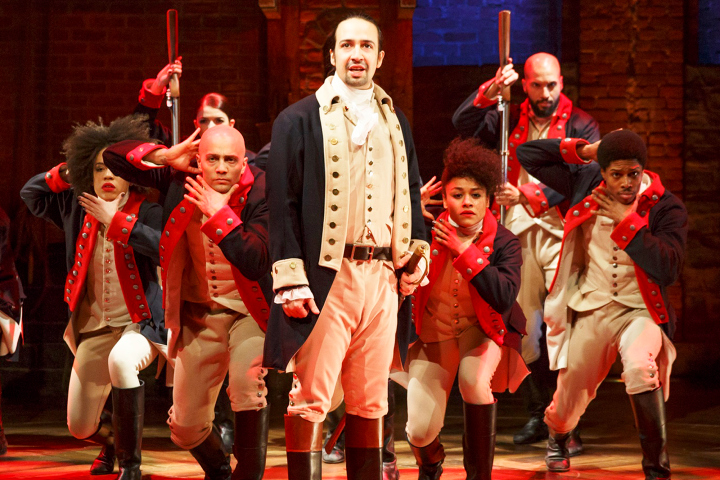 HAMILTON - Public Theater/Newman Theater - 2015 PRESS ART - Lin-Manuel Miranda and the company - Photo credit: Joan Marcus