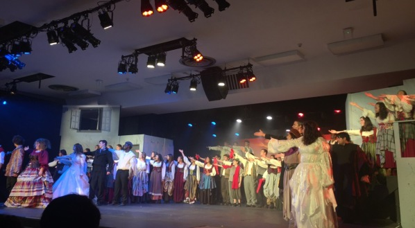The entire cast of Les Misérables takes the stage in full costume for a wonderful first performance.