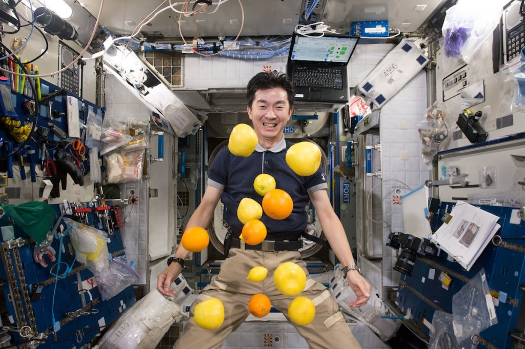 A scene from the IMAX® film A Beautiful Planet – Japan Aerospace Exploration Agency (JAXA) astronaut Kimiya Yui unpacks a supply of fresh fruit delivered to the International Space Station via Japan's Kounotori 5 H-11 (HTV-5) unmanned cargo transfer spacecraft. © 2016 IMAX Corporation Photo courtesy of NASA