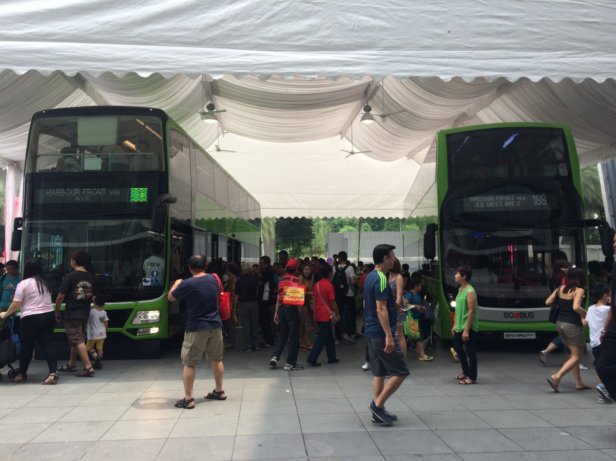 Singapore's Land Transit Authority held a bus expo at VivoCity mall, where many people attended.
