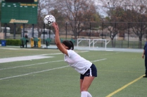 Sophomore Diana Garcia throws the ball back onto the field seeking a teammate.