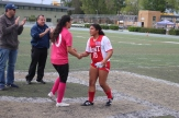 Goalkeeper Adriana Huerta shows good sportsmanship by shaking their opponents hands.