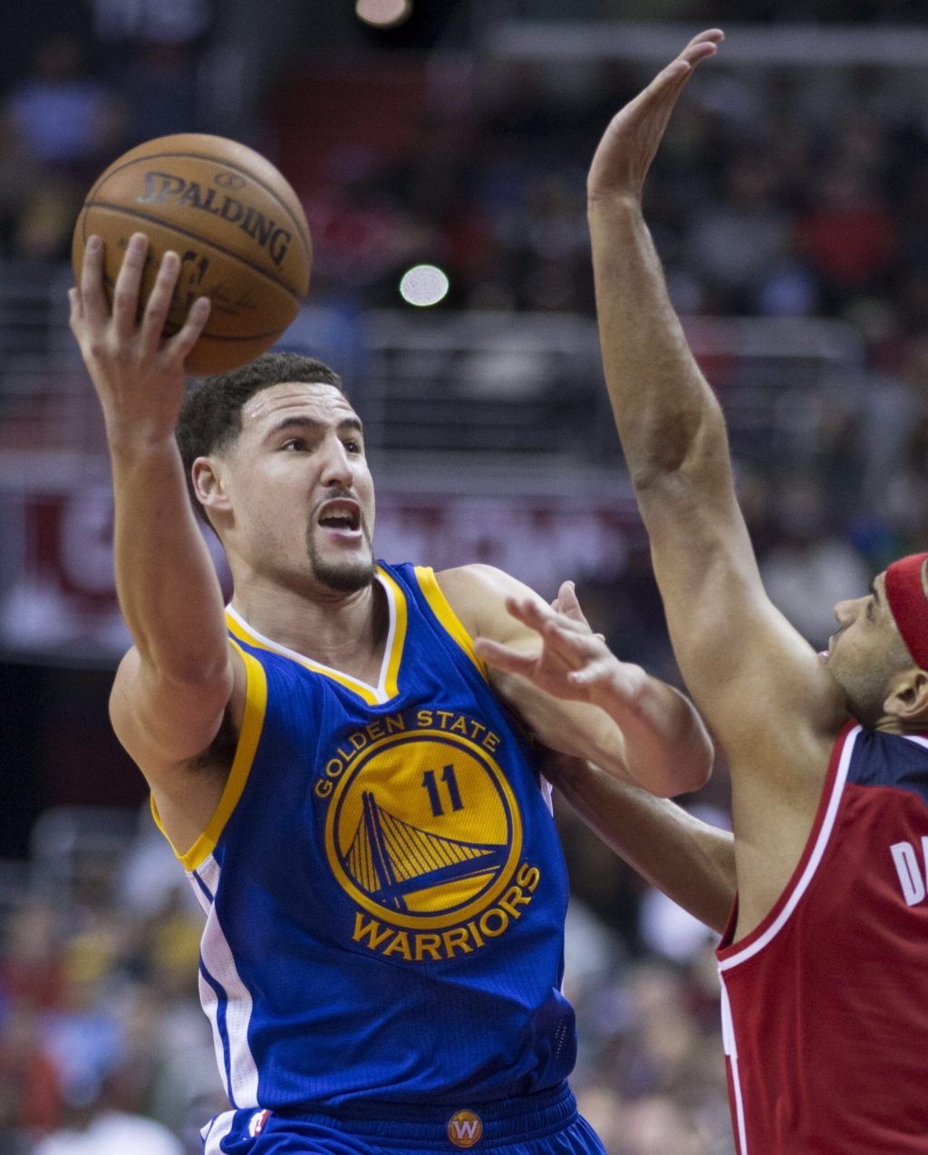 Orange County Native and Star NBA Player Klay Thompson takes the ball to the rim.  Courtesy:  Creative Commons
