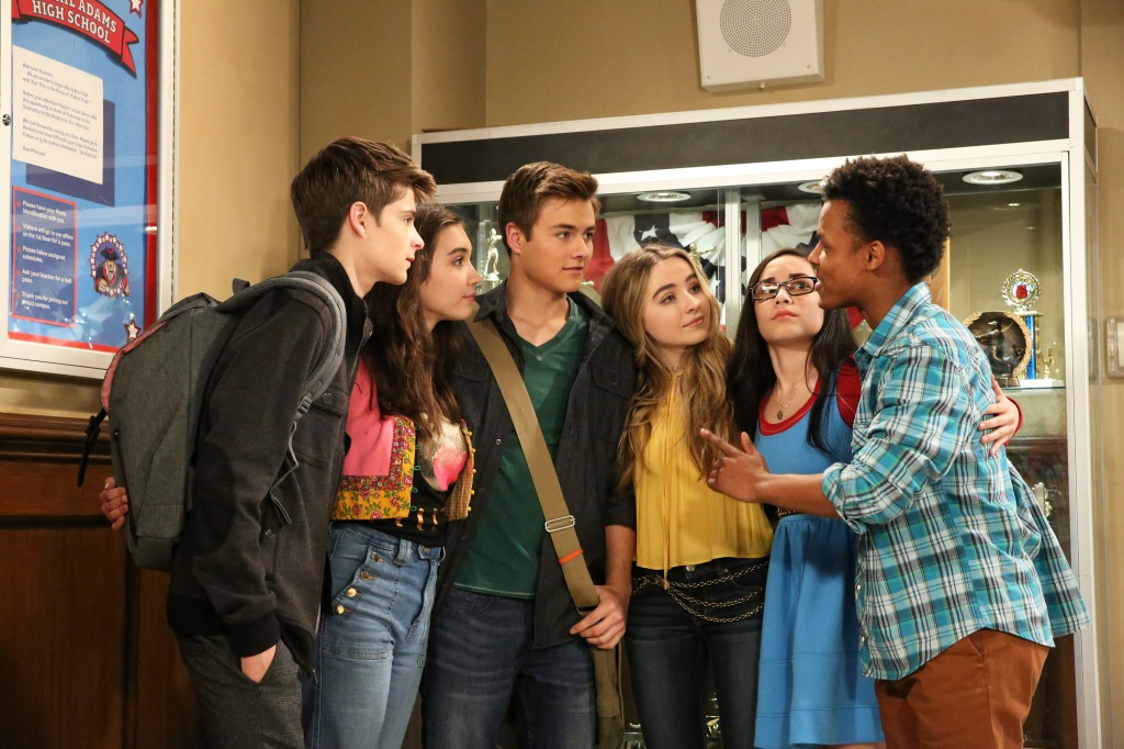 "GIRL MEETS WORLD - ""Girl Meets High School Part One"" - Riley, Maya, Lucas and Farkle are now freshmen in high school, and quickly learn what it is like to no longer be ""kings"" of the school. This episode of ""Girl Meets World"" airs on Friday, June 03 (8:30 - 9:00 P.M. EDT) on Disney Channel. - Riley, Maya, Lucas and Farkle are now freshmen in high school, and quickly learn what it is like to no longer be ""kings"" of the school. This episode of ""Girl Meets World"" airs on Friday, June 03 (8:30 - 9:00 P.M. EDT) on Disney Channel. (Disney Channel/Mitch Haaseth) COREY FOGELMANIS, ROWAN BLANCHARD, PEYTON MEYER, SABRINA CARPENTER, CECELIA BALAGOT, AMIR MITCHELL-TOWNES"
