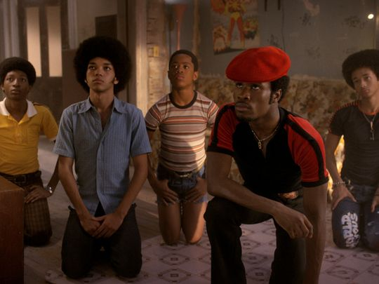 Justice Smith, front left, and Shameik Moore, are part of an ensemble cast in Netflix's 'The Get Down.' Netflix