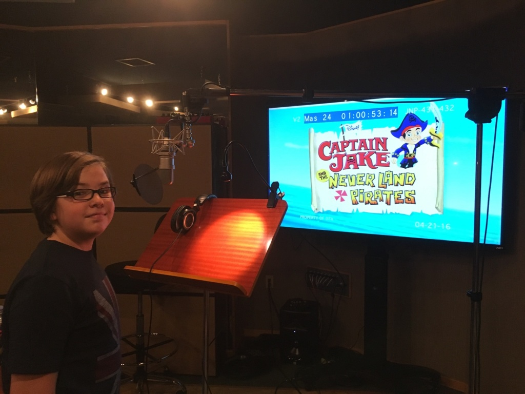 Gabe Eggerling recording Jake and the Never Land Pirates (Photo Credit: Gabe Eggerling)