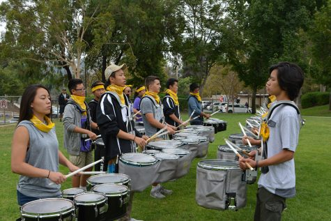 Walnut Valley High School's drumline performs at pro-DOC rally Aug. 27 (Stephen Burt/OPHS Talon).