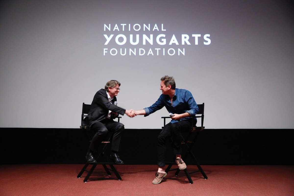 "Kerry Brougher and Doug Aitken discuss a handful of topics involving ""Electric Earth."" Photo by Ryan Miller/Capture Imaging, courtesy of YoungArts."