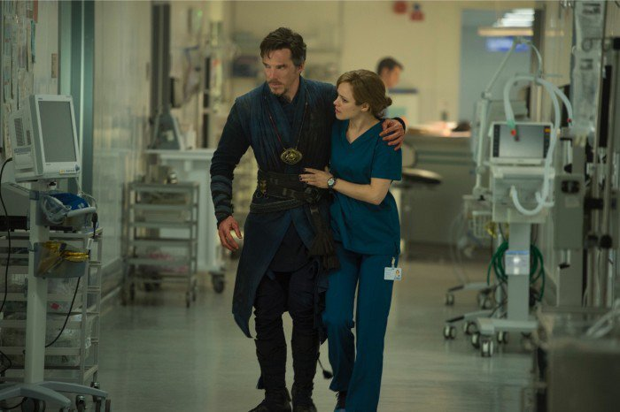 Benedict Cumberbatch as Doctor Strange and Rachel McAdams as Christine Palmer.