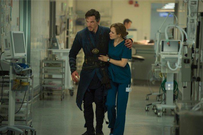 Benedict Cumberbatch as Doctor Strange and Rachel McAdams as Christine Palmer.