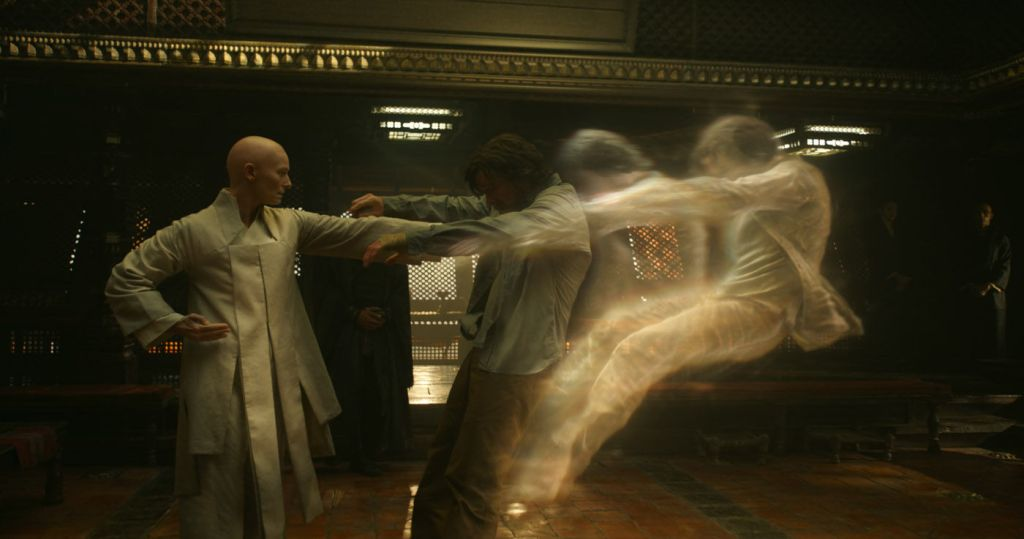 Tilda Swinton as the Ancient One and Benedict Cumberbatch as Doctor Strange.