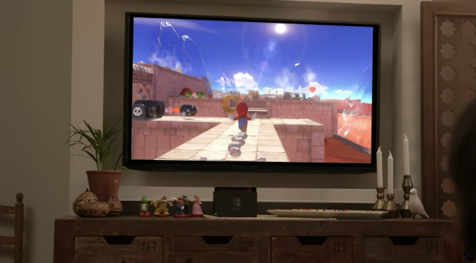 "The video presentation shows off an unnamed ""Super Mario"" title and four amiibo figurines, confirming the Switch's amiibo compatibility. Credit: Nintendo"