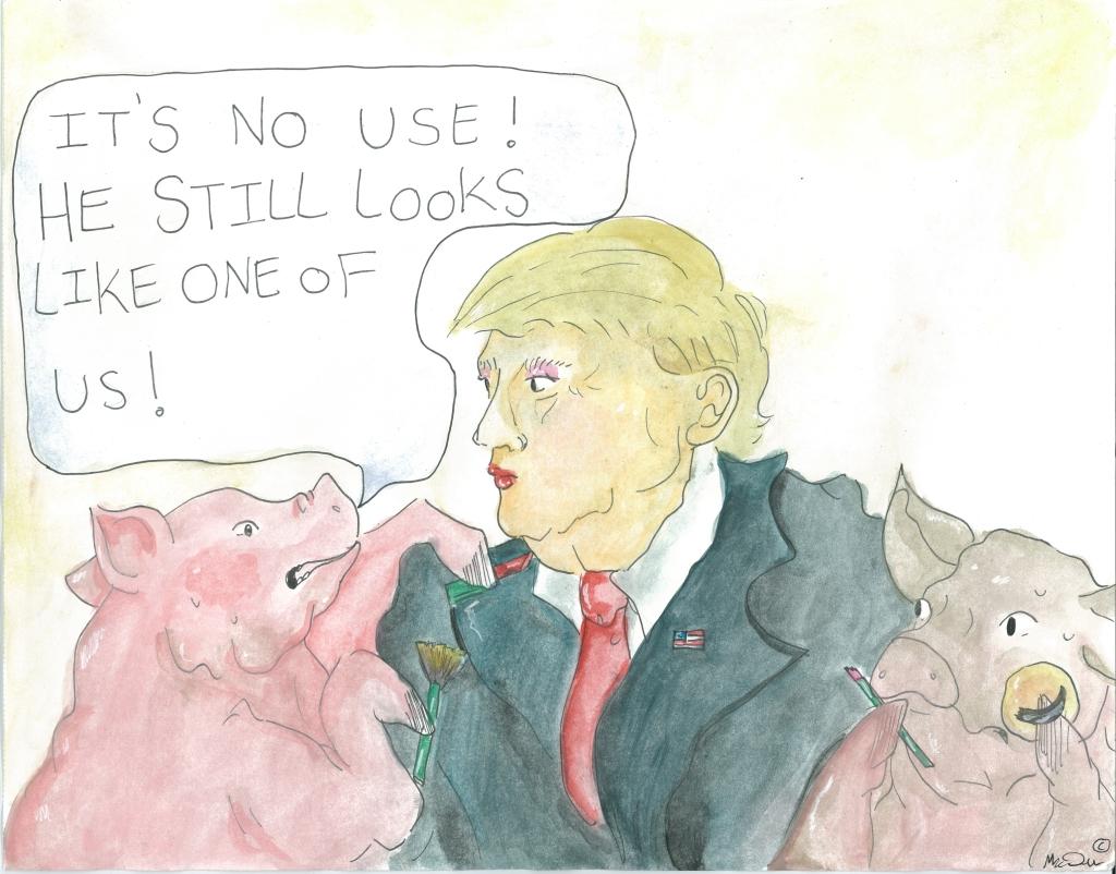 trump political cartoon august 2016 300dpi Political cartoon: If you put lipstick on a pig ...