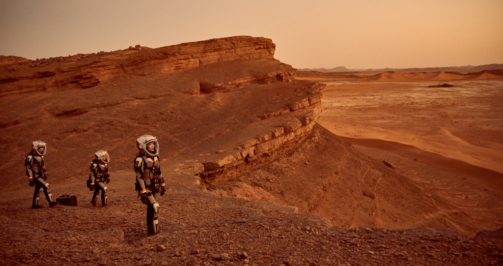 Some of the crew exploring Mars. (photo credit: National Geographic Channels/Robert Viglasky)