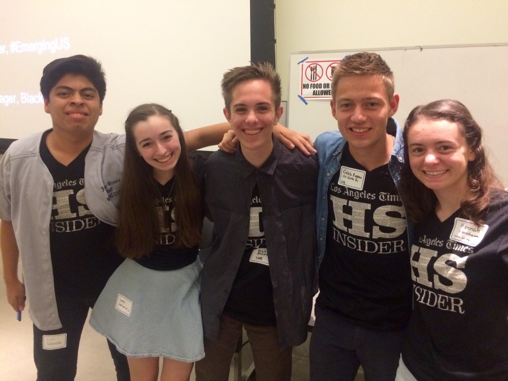 Five of the 15 HS Insider Student Advisory Board members.