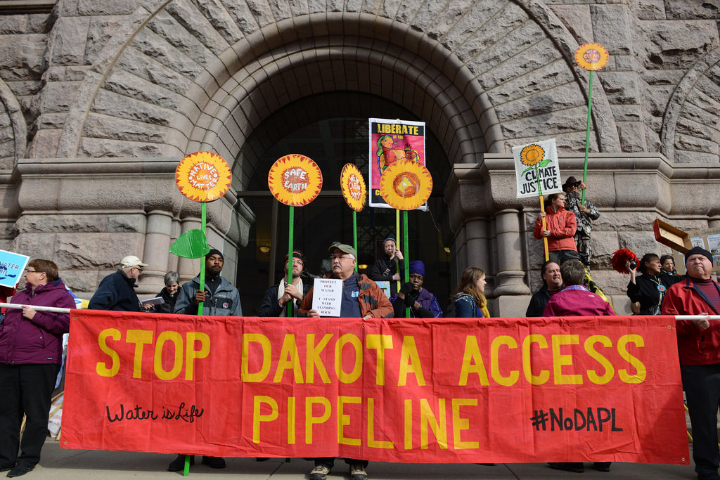 About 200 people gathered outside Minneapolis City Hall to protest the Dakota Access Pipeline.
