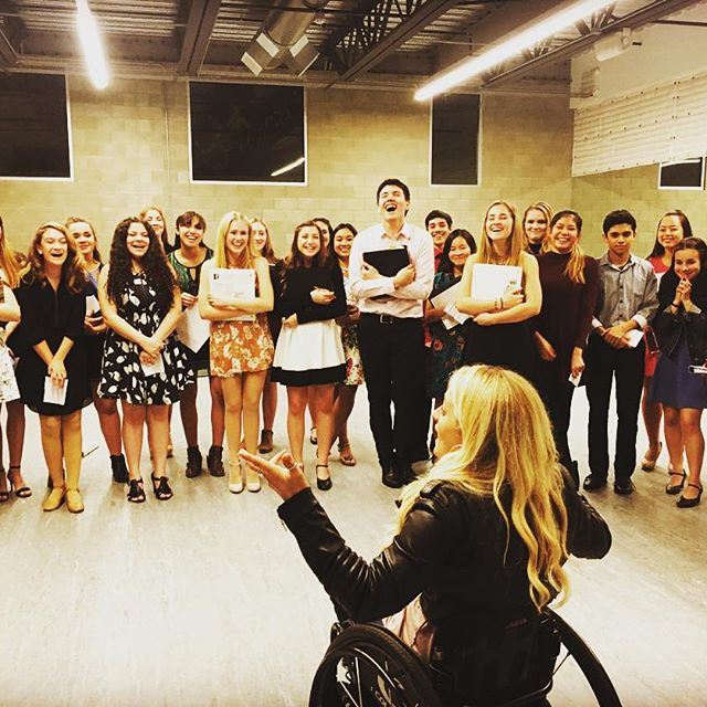 """Ali Stroker at OCSA's """"Performing with the Pros"""" audition. Courtesy of Ali Stroker"""