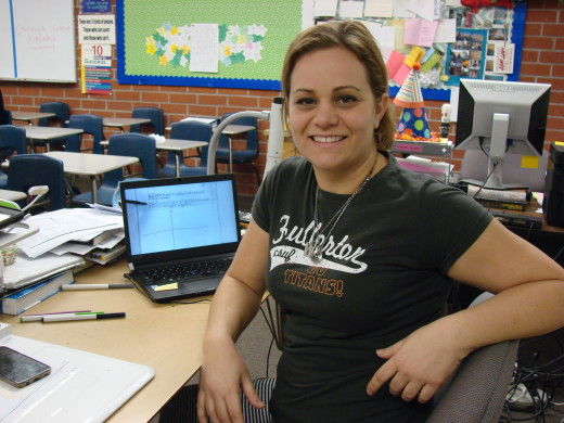 Shannon Atkins displays one of her many video lessons that she utilizes in her flipped classroom. Photo by Kaitlyn Ngo.
