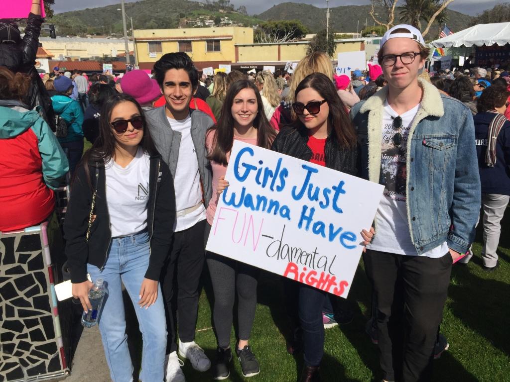 Seniors Neela Nassiri, Nathan Fallahi, Lauren Oberreiter, Julia David, and Henry Bagdasar attend the Laguna Beach Women's March.