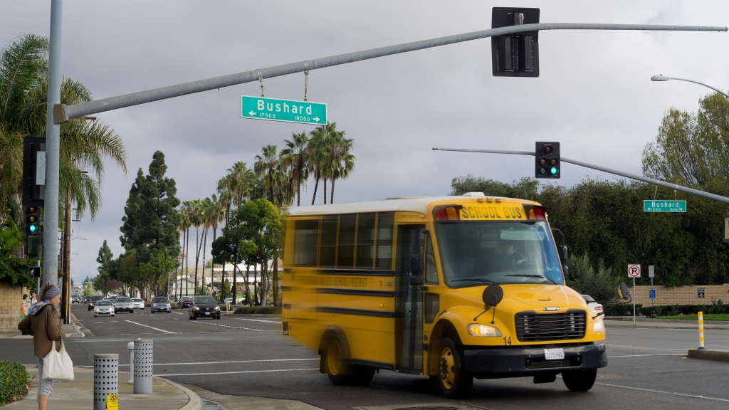 Fountain Valley School bus on the move. Photo by Jake Winkle