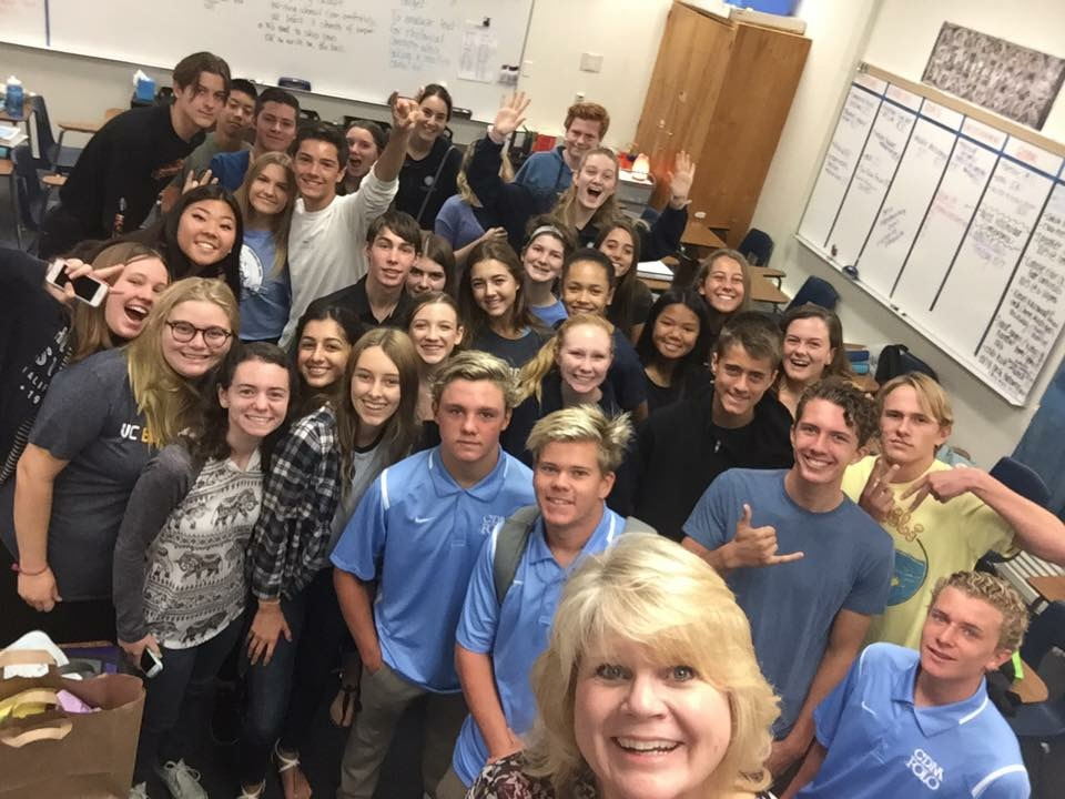 Ms. Holk snaps a class selfie with her journalism students on her birthday.