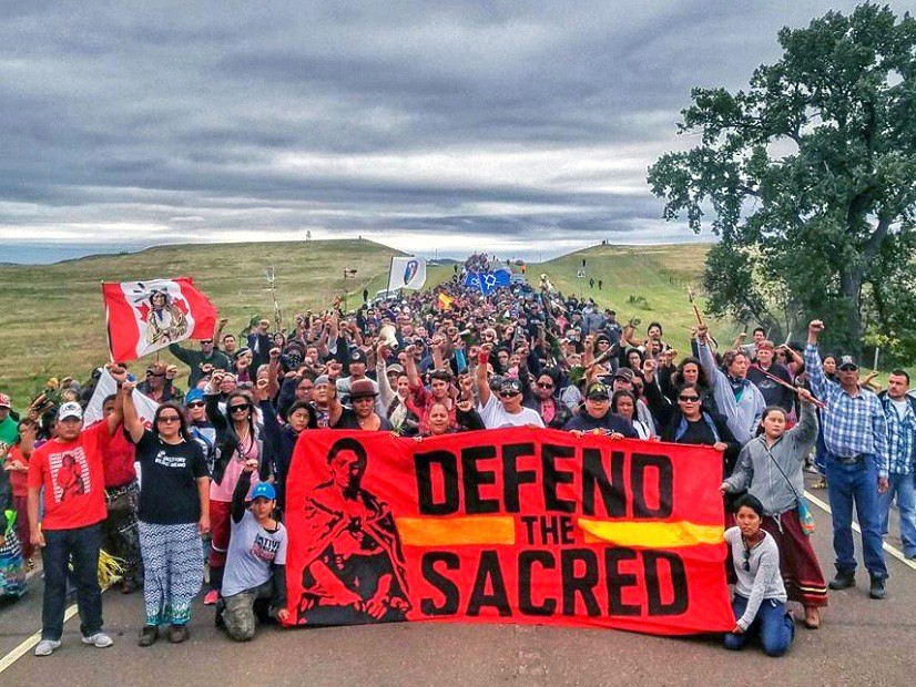 """Protesters gathering to """"Defend the Sacred"""" against the Dakota Access pipeline"""