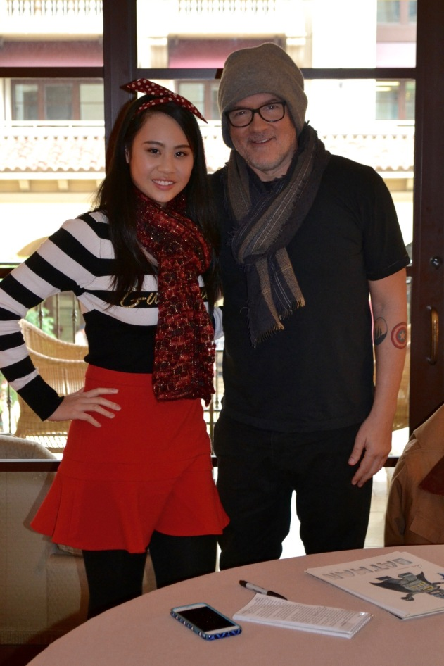 Journalist Cassandra Hsiao with Director Chris McKay