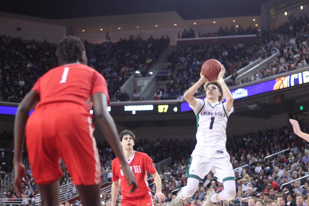 LaMelo Ball (Chino Hills) raises up over 7-foot-2 Bol Bol (Mater Dei). Blake Atwell/ LA Times HS Insider