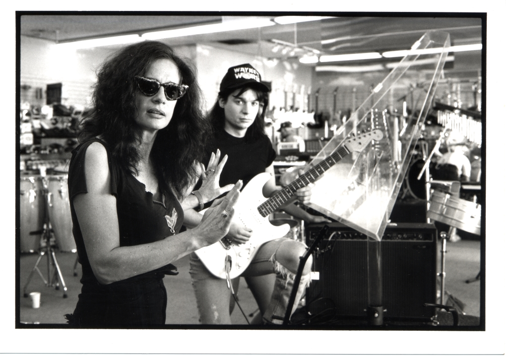 Wayne's World director Penelope Spheeris pictured with Mike Myers during the film's production. (Courtesy of Paramount Pictures)