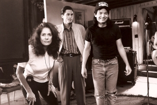 Spheeris (far left) pictured with Rob Lowe (center) and Mike Myers during production. (Courtesy of Paramount Pictures)