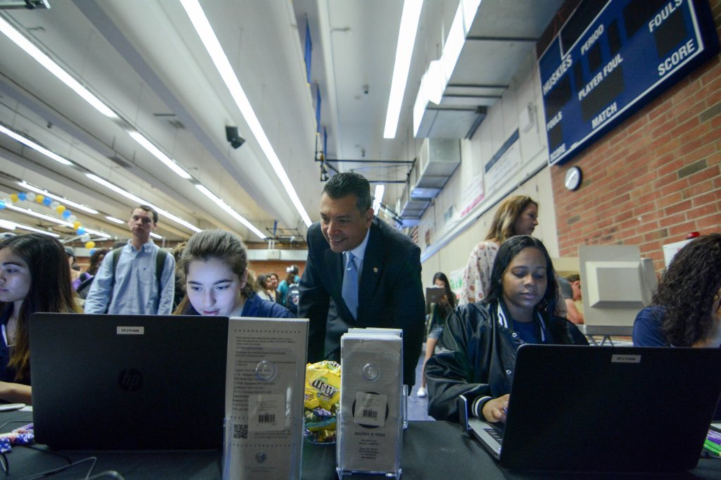 CA Secretary of State Alex Padilla visits JW North High School to publicize new initiative