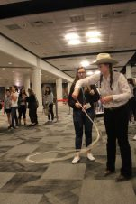 Trick ropers taught student journalists how to use a lasso. Photo by Rachel Bullock