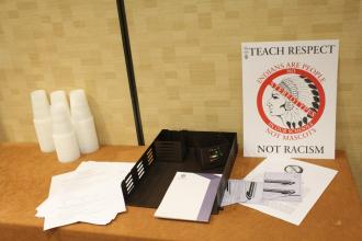 Breakout sessions included ones on social justice. This poster and information sheets were just outside a room where a two part discussion on political correctness was being held. Photo by Rachel Bullock