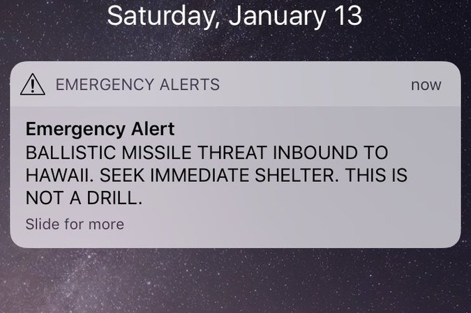 hawaii false missile alarm False Incoming Missile Alert Sends People in Hawaii into a Panic