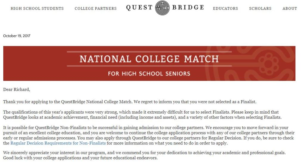 questbridge rejection letter Reeling from Rejection: College Application Edition