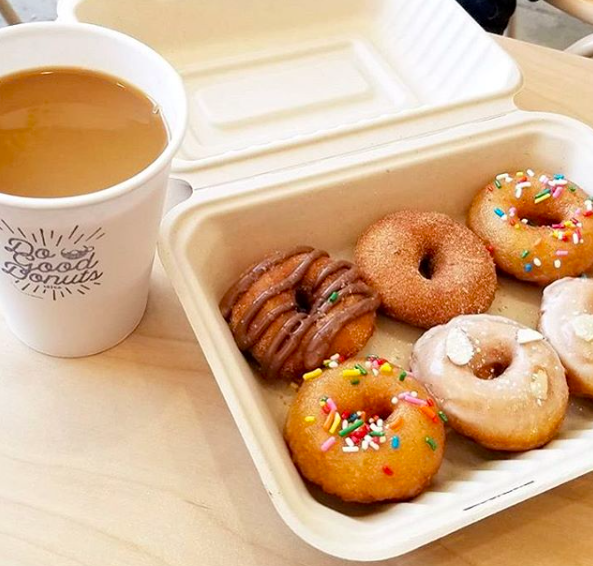 donuts and a cup of coffee Big flavors and mini donuts in Long Beach   Do Good Donuts