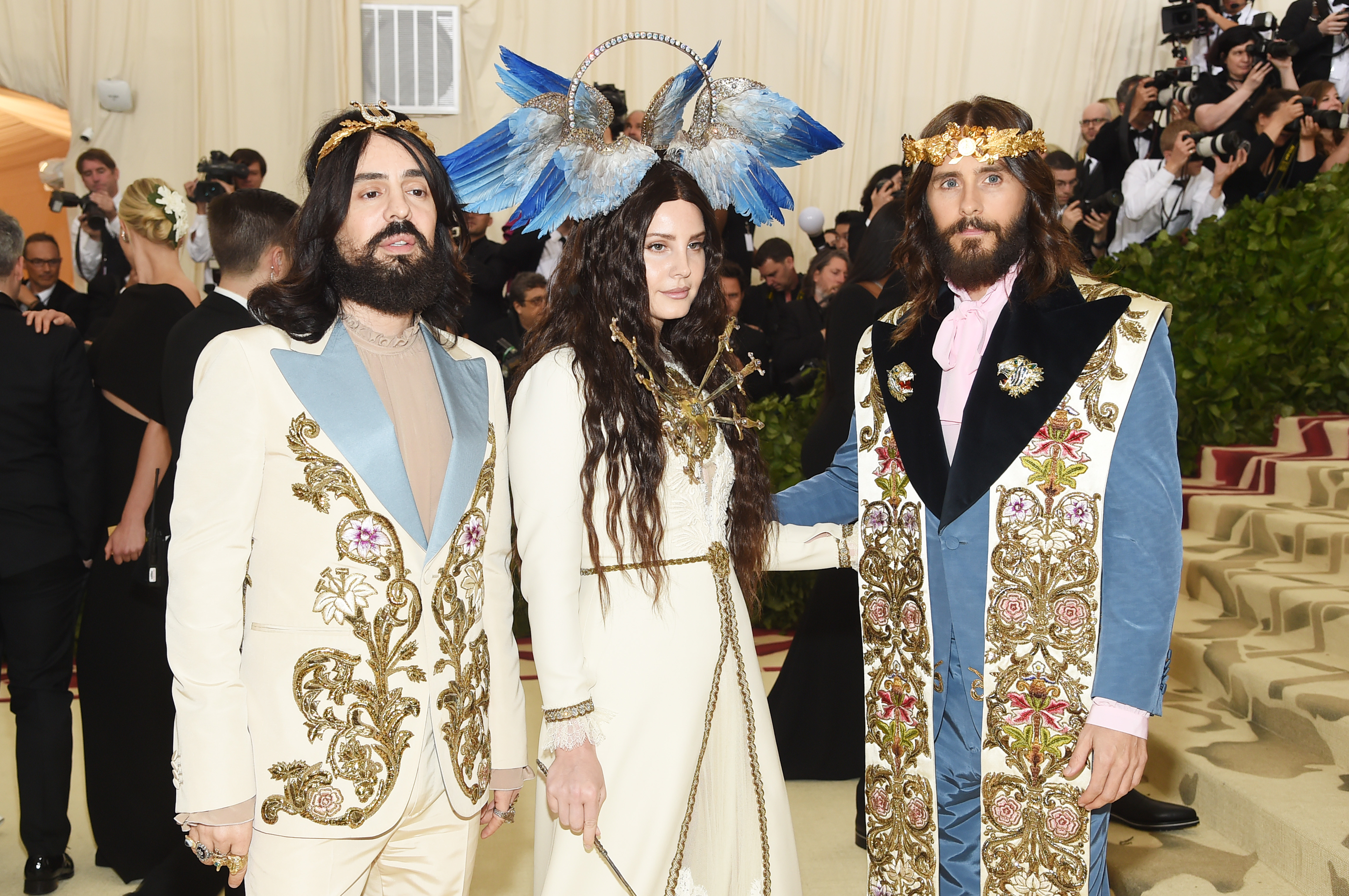 Alessandro Michele, Lana Del Rey and Jared Leto attend the Heavenly Bodies:  Fashion & The Catholic Imagination Costume Institute Gala at The  Metropolitan ...